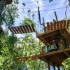 View from ground of trees, aerial bridge and 2 men on wooden platform at SKYWILD Treetop Adventure Park