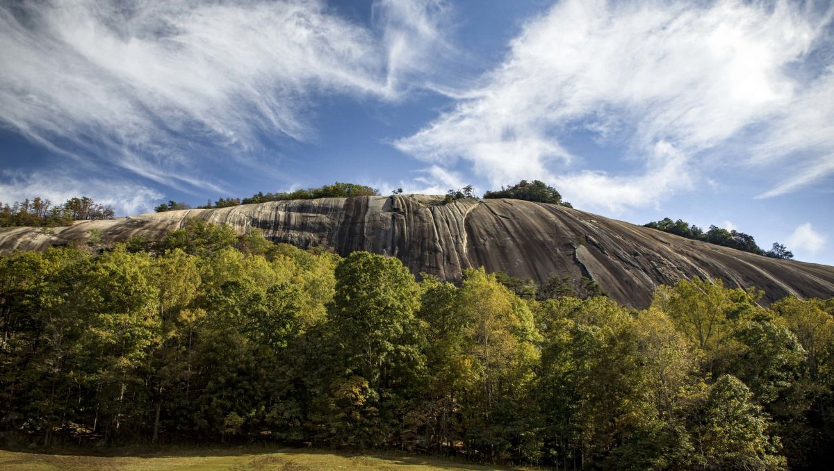 View of Stone Mountain from ground during daytime