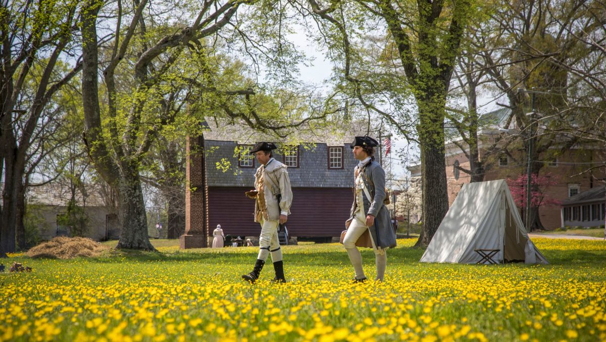 Two war re-enactors walking through field of flowers in Halifax