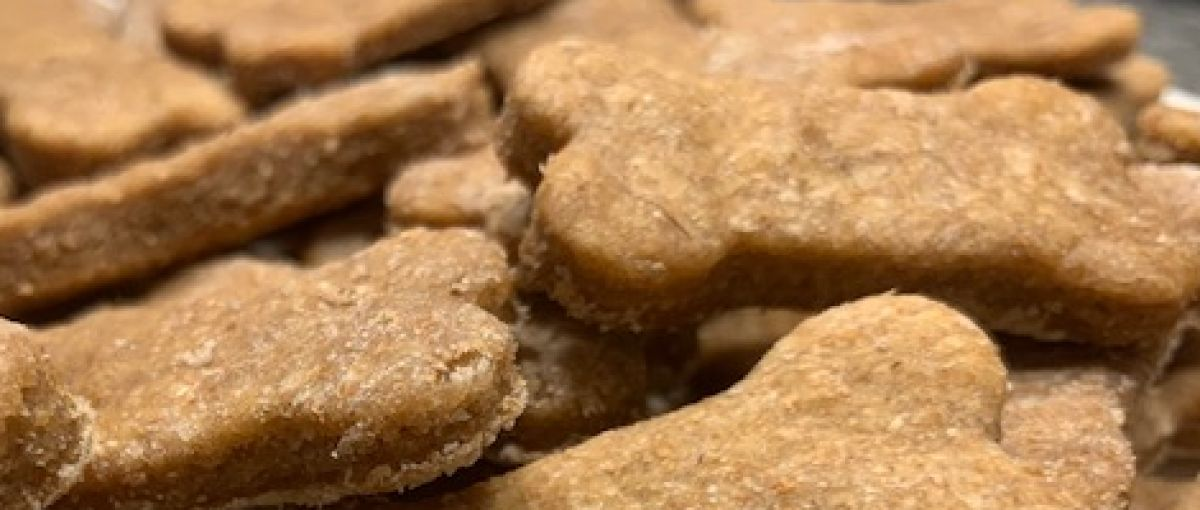 Close-up of peanut butter dog treats from Peace Puppy Treats