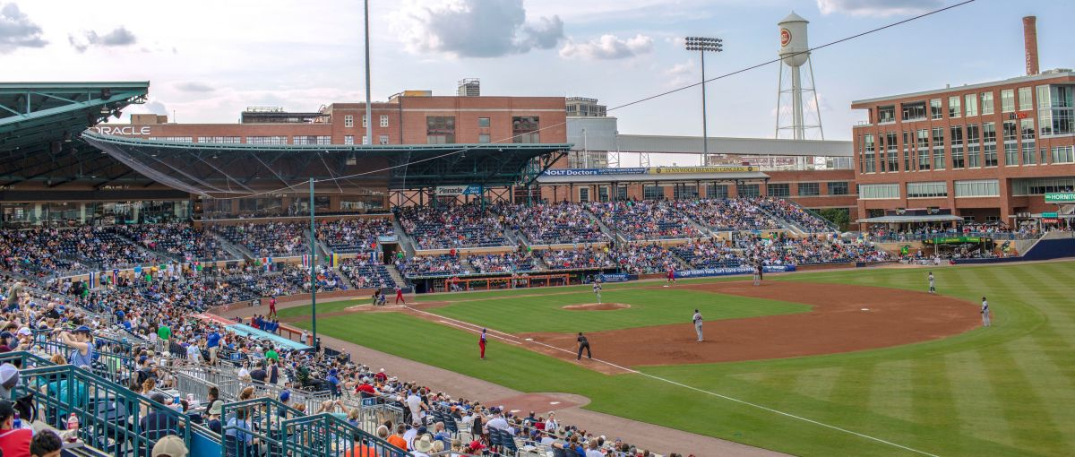 View of Durham Bulls Athletic Park field in Durham from foul territory