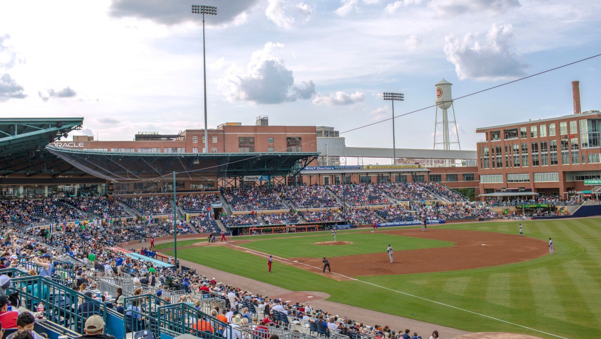 View of Durham Bulls Athletic Park from stands during a ballgame