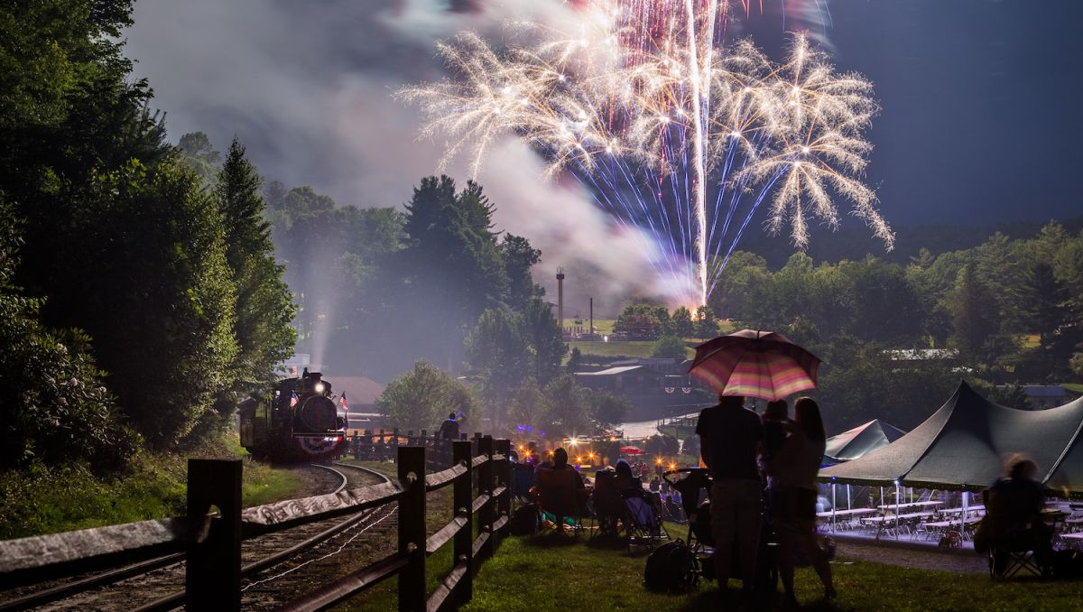 Crowd sitting on lawn by a train watching fireworks in the sky