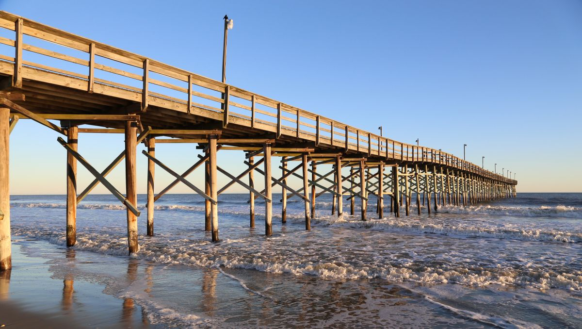 Ocean Isle Beach Pier during daytime in Brunswick Islands