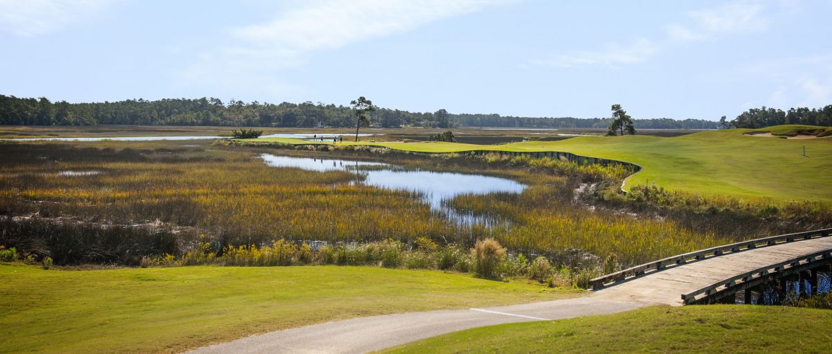Golf course and marshes on sunny day in N.C.'s Brunswick Islands