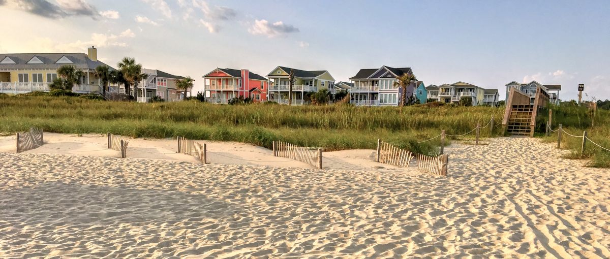 Colorful beach houses on Holden Beach in N.C.'s Brunswick Islands