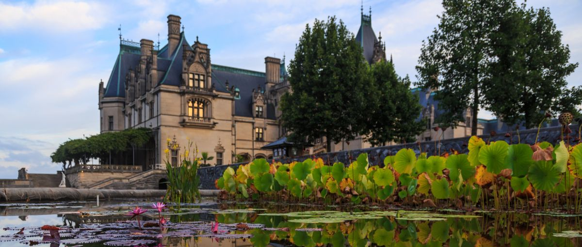 Biltmore House with Italian Garden pond in foreground